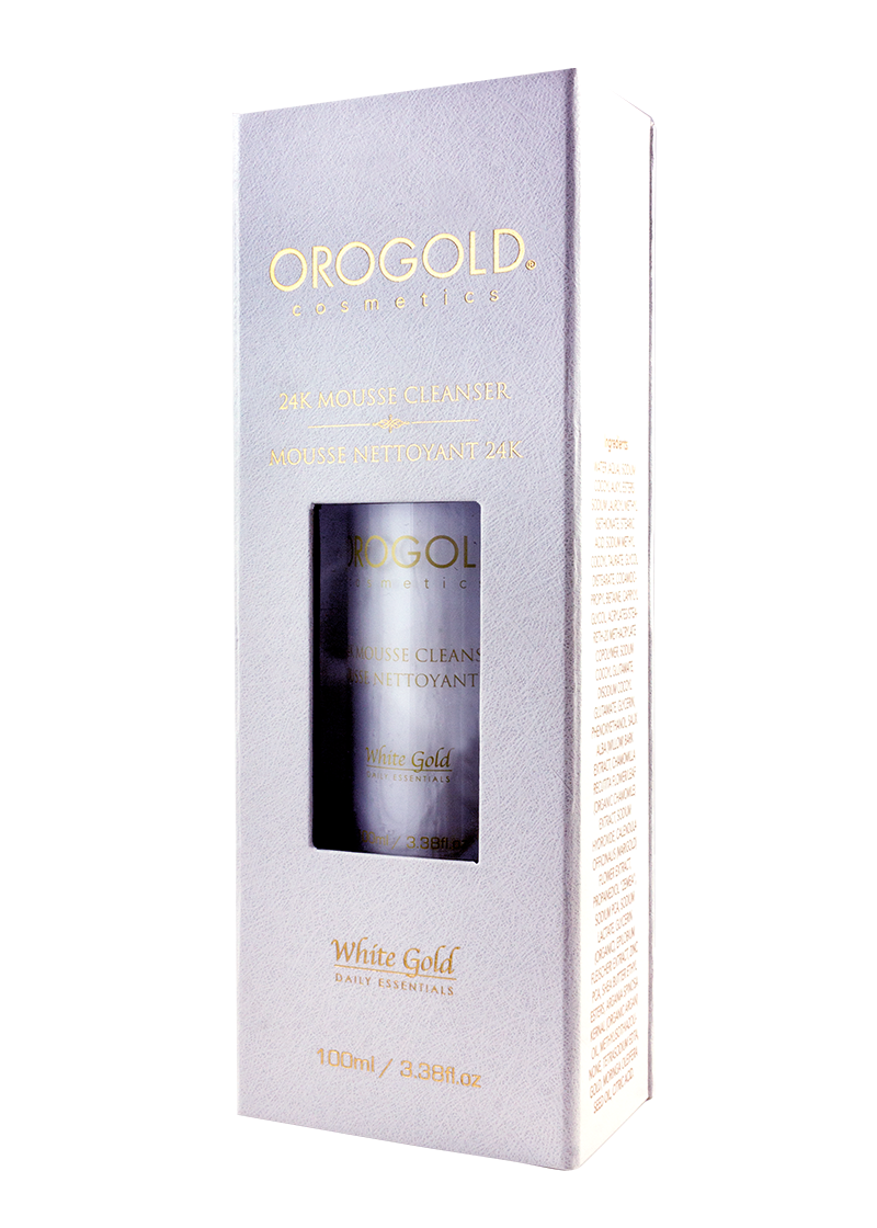 OROGOLD White Gold 24K Mousse Cleanser in case